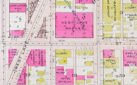 A detail from the 1912 Baist Real Estate Map, including the triangle block, upper-left, identified as home for the Everret Interurban RR.