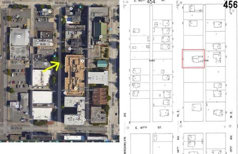 A Google Earth detail of the feature block frames with a detail from the 1905 Sanborn Map. Delta Gamma has been marked with a red frame. (Courtesy Ron Edge)