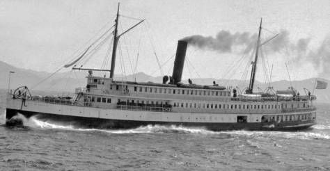 "The steamer City of Seattle on one of its many runs to Alaska. This is, the caption reads, ""just below Dixon's Entrance. (Courtesy, Cornell University Library)"