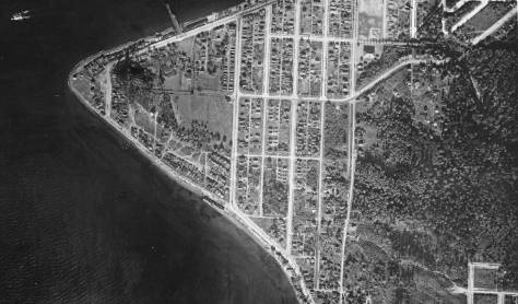 The Alki Point part of the 1929 aerial photography project to map Seattle. Note that the dock used by the Nat is just evident upper-left. The Nat., of course, is thirteen years past. (Courtesy Seattle Municipal Archive)