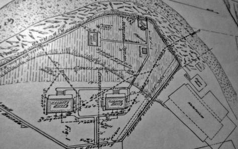 An early lighthouse map showing the relationship of the light to the natatorium.