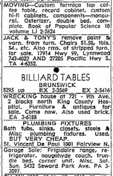 A wrecking house sale at the Graham/Hausman home, promoted in a Times clip for Nov. 9, 1966.