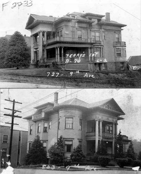 A not matching and yet similar Greek Revival was built across Columbia Street, on its northwest corner with 9th Avenue, suggesting that the two big homes may have been developed together.