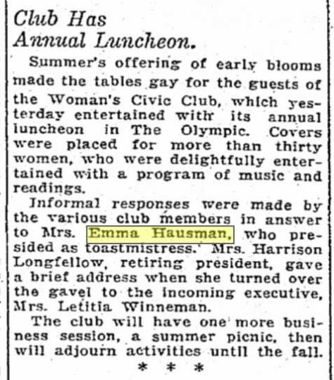 Civic Club holds annual luncheon at Emma Hausman's big home. A Times clip from May 26, 1926