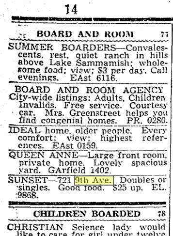 A Sunset Boarding classified from 1937.
