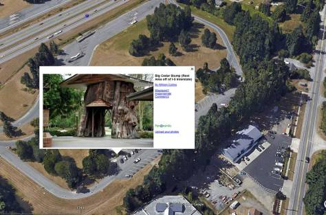 A view from spaceof the Smokey Point rest area along I-5 used courtesy of Google Earth.