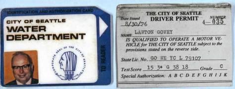 Lawton Gowey's municipal driver's permit, 1976