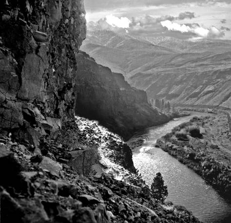THEN: Hugh Paradise neither named nor dated his photograph looking down from a basalt cliff onto the Yakima River. (Courtesy, Byron Coney)