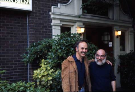 Posing at the front steps in the mid-70s, Jim Osteen and Art Berstain, the creator-owners of the Harvard Exit conversion of the Women's Century Club.