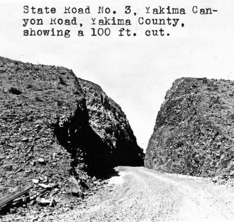 "A Washington Dept of Highways snapshot taken somewhere along the canyon road, perhaps even from ""our"" cut."