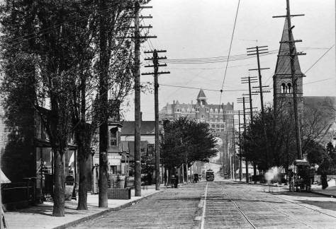 Third Ave. at it old grade as it moves north towards Denny Hill and its namesake Hill in the 1890s recorded from Seneca Street on