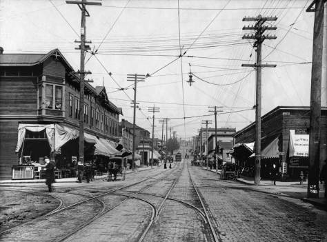 THEN: Looking east on Pike Street from Fifth Avenue early in the twentieth century. (Courtesy, Museum of History and Industry)