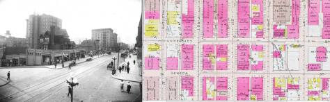 The week's featured photo set beside a detail from the 1912 Baist real estate and fire insurance map.