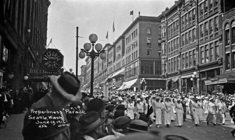 A scene from the Preparedness Parade of June 10, 1916 that shows both the Diller Hotel on the right and the Aracde Annex at the center. (Courtesy Everett Library)