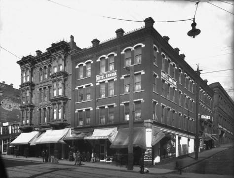Side-by-side the Yates and Ramona hotels in another Webster and Stevens Studio photograph, courtesy of the Museum of History and Industry, AKA MOHAI.