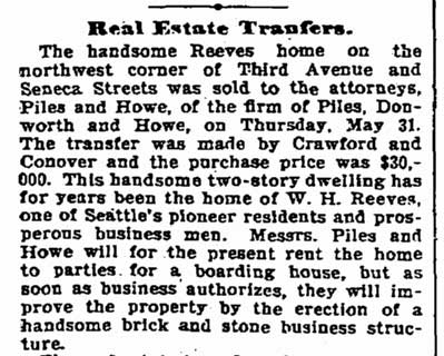A clip from The Times for June 2, 1900 with news of the Reeves home's sale.