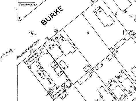 Detail from te 1904 Sanborn map of Ballard showing the fire station on Burke Street.