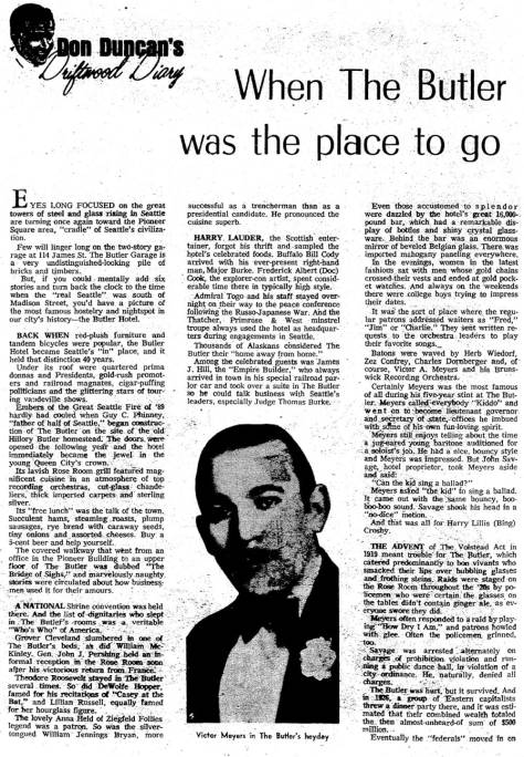 [DUNCAN'S feature on the Butler appeared in The Times on March 14, 1971. It continues and concludes below.)