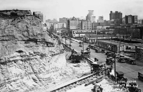 Fifth Avenue where the main conveyor belt began its run west on Battery Street to Elliot Bay. (Courtesy, Municipal Archive)
