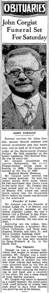 J. Corgiat's obituary in The Seattle Times.