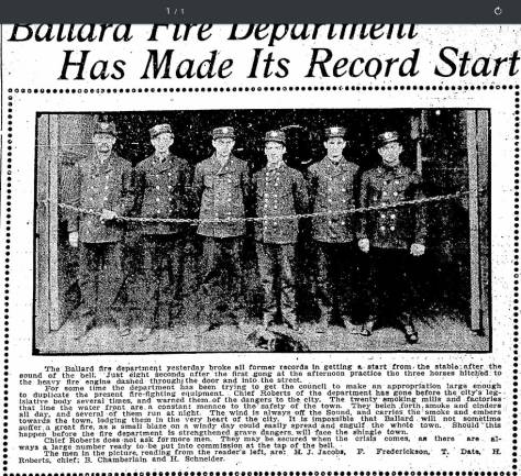 A clipped (at the top) clipping from the Seattle Times for Octobert 1, 1905 posing and naming the members of the Ballard Fire Department, with Chief H. Roberts third from the right. We have placed below this a letter from Roberts to Ballard's mayor and council that they fire Assistant Chief L. Roberts (no relation) for violating the rules and regulations, of the department we assume. The letter is dated Nov. 10, 1903, and we can find no posing L. Roberts in the 1905 crew portrait, nor the recommended successor M.G. Mabbuth (spelling?)