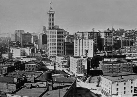 The Central Business District with Chin Gee Hee near the center of this record from the Great Northern tower., ca. 1930.