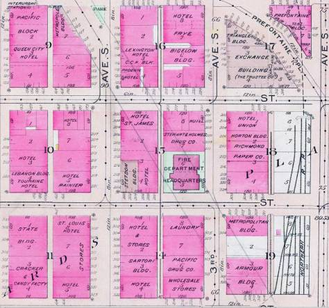 A detail of the same intersection (upper-left) from 1912. Later an owner of the bound Baist map drew through the detail the borders of the Second Avenue Extension, which cuts through the Fire Department Headquarters at the northwest corner of Main and Third Avenue.