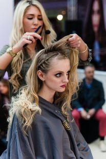 Siobhan sections out the hair