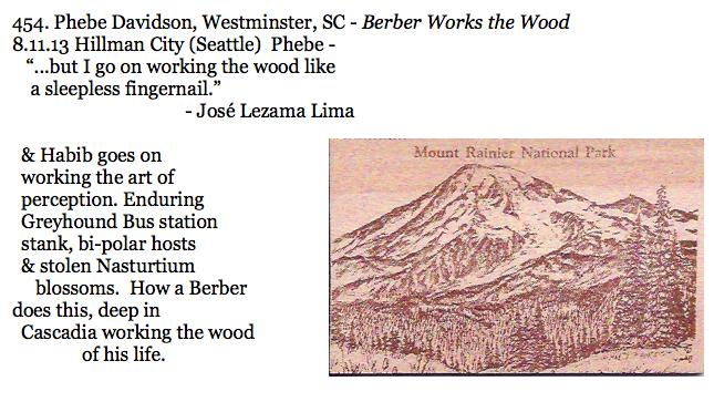 454. Phebe Davidson, Westminster, SC - Berber Works the Wood.