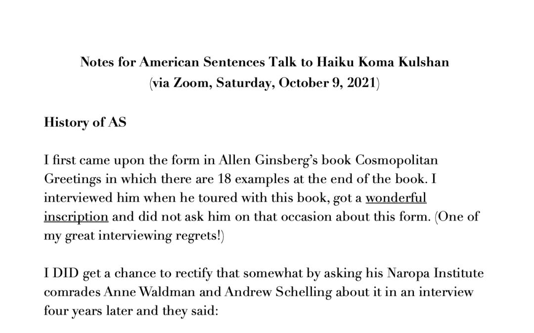 Notes for American Sentences Talk to Haiku Koma Kulshan