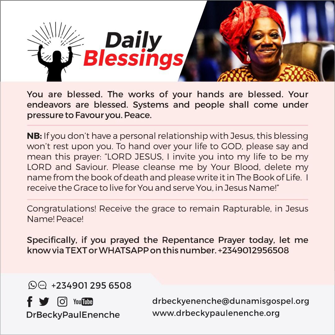 Daily Blessings Dr Becky Paul Enenche