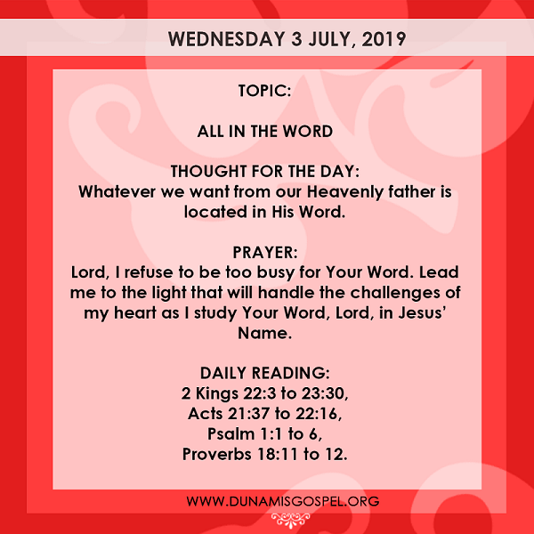 Seeds of Destiny 3 July 2019 Devotional