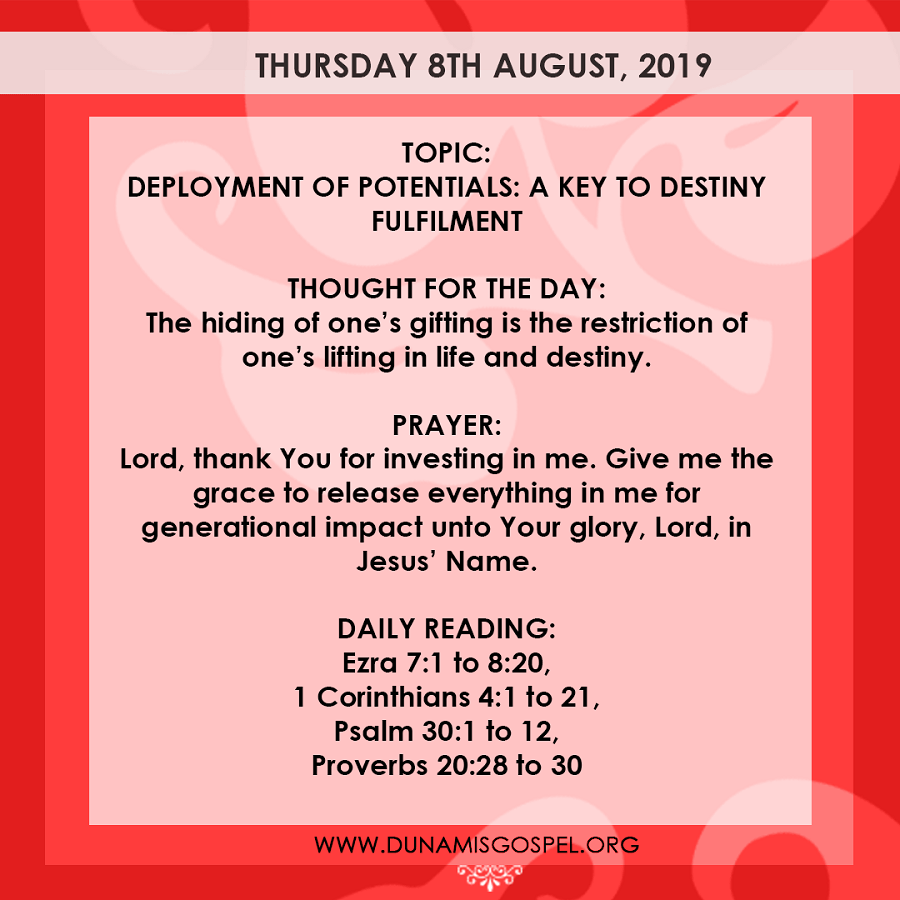 Seeds of Destiny 7 August 2019 Devotional