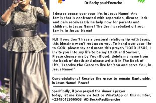 DAILY BLESSING DR BECKY PAUL ENENCHE
