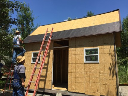 Tiny Cabin Roofing Day - Tar Paper