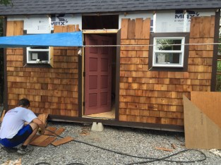 Tiny cabin cedar shingles - almost finished!