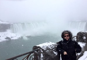 At the Falls during the winter storm.