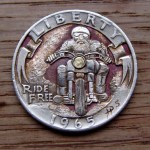 'Ride Free' clad coin 1965 Washington quarter $ carving 2