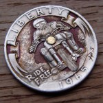 'Ride Free' clad coin 1965 Washington quarter $ carving 3