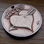 'Heart & Arrow' Love token-coin carving (1978 French 10 Francs coin) 2