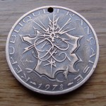 'Heart & Arrow' Love token-coin carving (1978 French 10 Francs coin) 4
