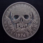'Skulled 1974 French 5 francs coin' 1