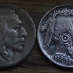 'The Warrior' Hobo nickel-coin carving 1936 USA Buffalo 5 cents 5