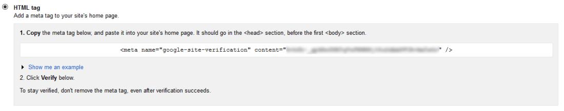 Google Webmasters HTML Tag