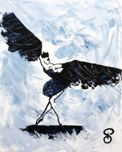 Black Bird L'Envol - Peinture Acrylique