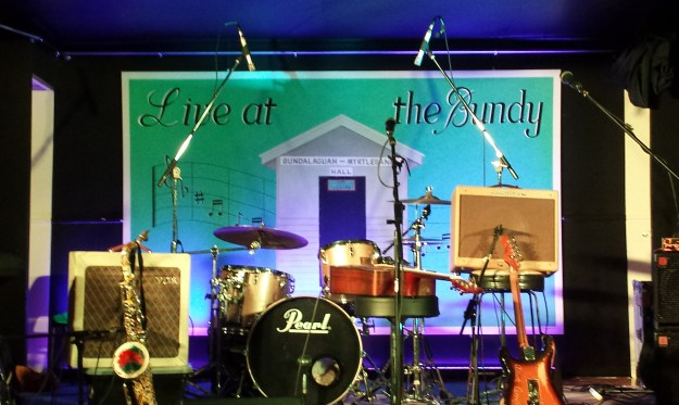Live at the Bundy Stage banner_3 metres x 1.8 metres Acrylic on canvas 2014