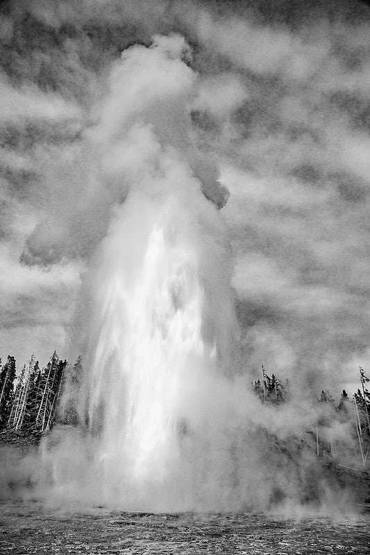 Grand geyser in black and white