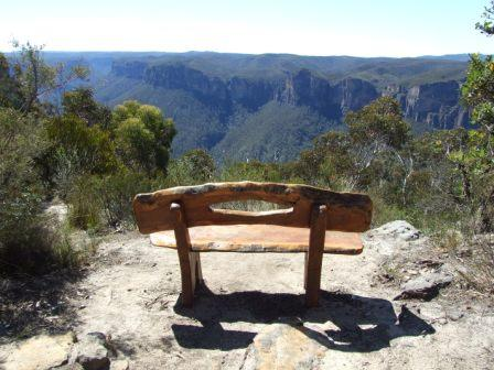 Seat overlooking Grose Valley Blackhath