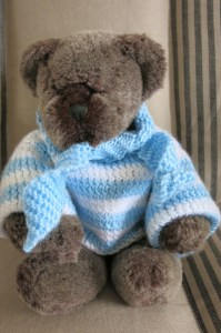 Des in the outfit Maureen knitted for the occasion.