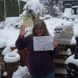 A snowbound Jackie sends a kind greeting!